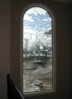 etched glass kitchen cabinet